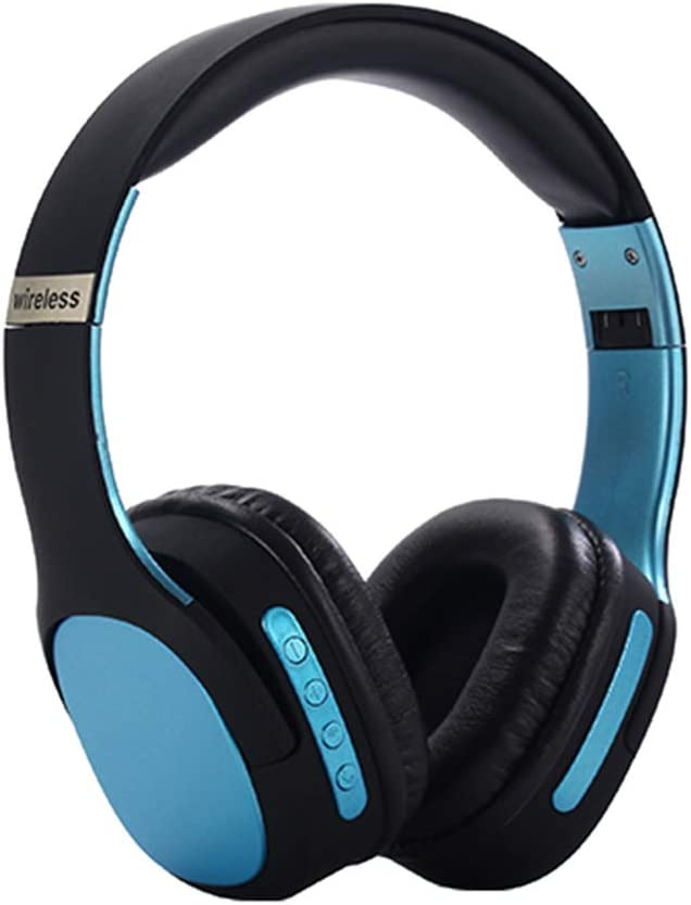 Wireless Headset with Mic,Foldable Bluetooth Headphone with 3.5mm Audio Jack for PC/iPhone/Android Smartphones Computers(Black+Blue)
