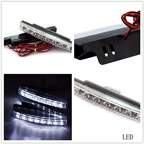 VOSAREA Lot de 2 Feux de Circulation diurnes universels 8 LED pour Voiture lumi/ère Blanche