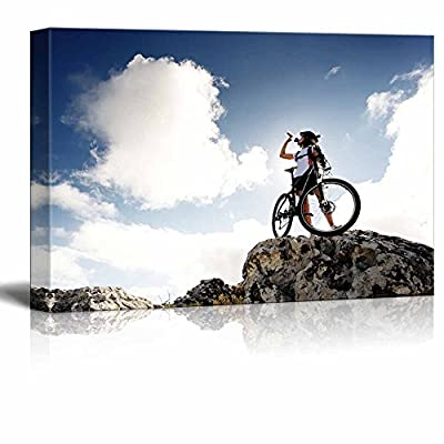 Fascinating Composition, Top Quality Design, Cyclist Drinks Water on Top of a Mountain with Bike on a Sunny Day Wall Decor