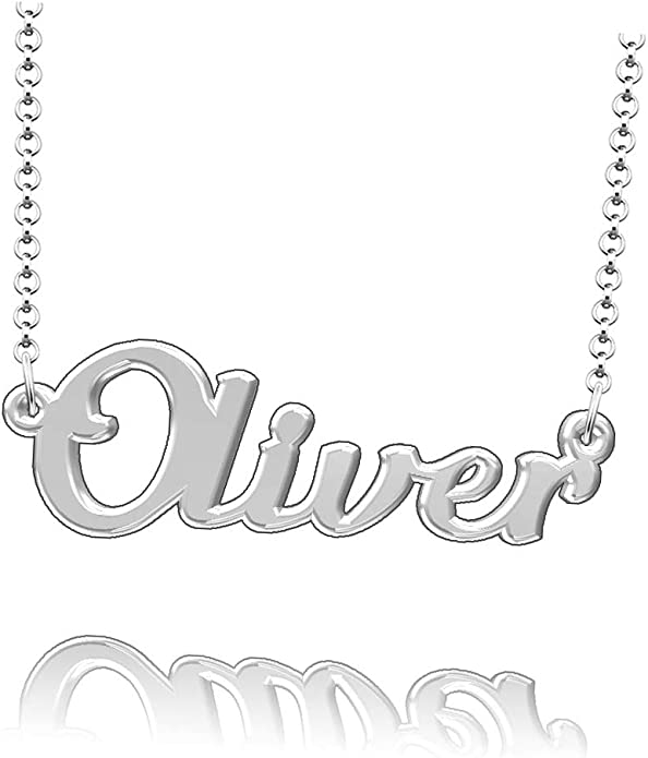 LoEnMe Jewelry Customized Landeros Name Necklace Sterling Silver Plated Custom Made of Last Name Gift for Family