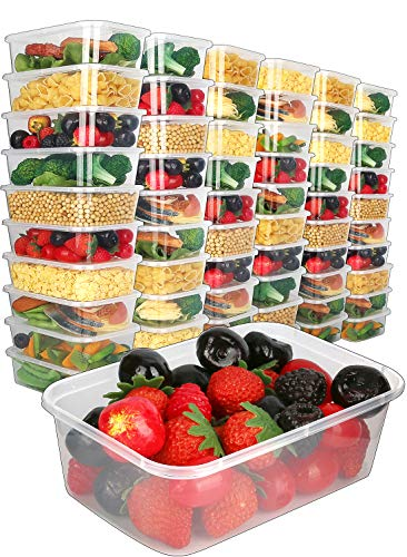 - [60pk,25oz] Food Storage Containers with Lids-Food Containers Meal Prep Plastic Containers with Lids Food Prep Containers Deli Containers with Lids Freezer Containers with lids Disposable Containers