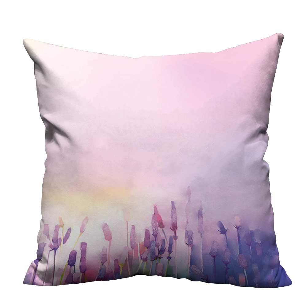 YouXianHome Home DecorCushion Covers Blurred Lavenders in The Meadows Rural Country Nature Theme Lilac Purple Comfortable and Breathable(Double-Sided Printing) 35x35 inch