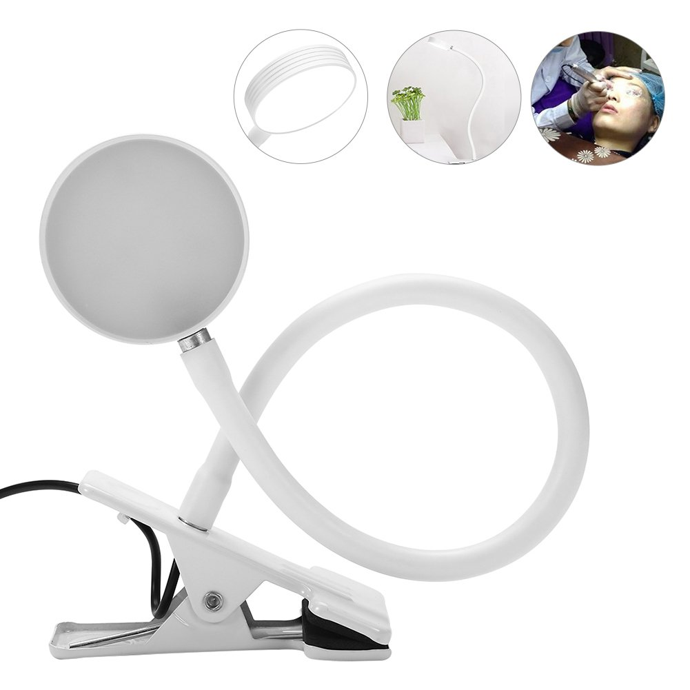 USB Adjustable Desk Lamp, Warm Light Eyelash Extension Tool Eyebrow Tattoo(White)
