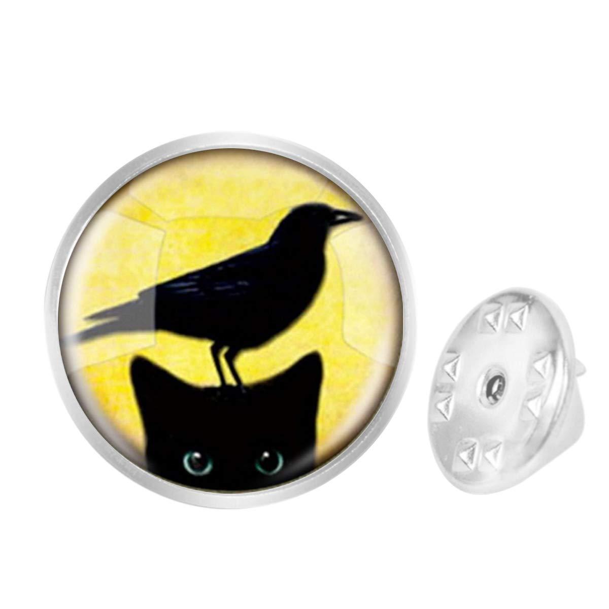 WAZZIT Round Metal Tie Tack Hat Lapel Pin Brooches Black Cat Bird Banquet Badge Enamel Pins Trendy Accessory Jacket T-Shirt
