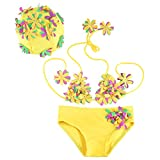 Cute Bikini for Toddlers Adorable Flower Design Swimwear with Hat, for Little Girls Two-piece adjustable Halter Set Infant Swimsuit Yellow 3T