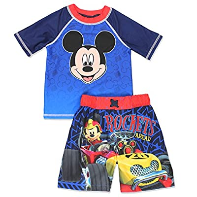 Mickey Mouse Roadster Racers Toddler Boys Swim Trunks and Rash Guard Set