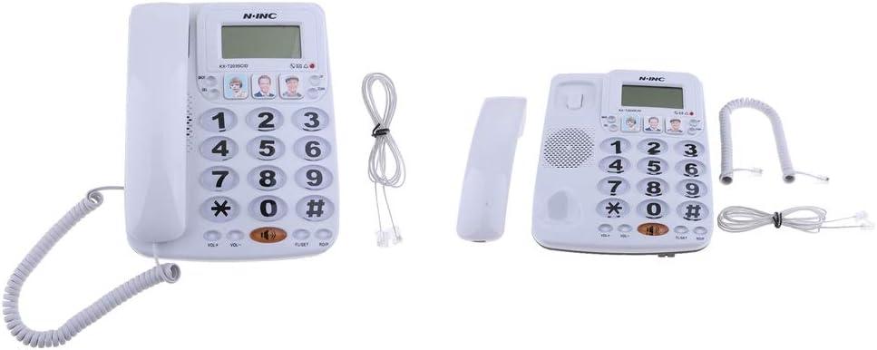 F Fityle 2X Teléfono Fijo con Cable para Negocio Extranjeros Foto Amplificada, Blanco: Amazon.es: Electrónica