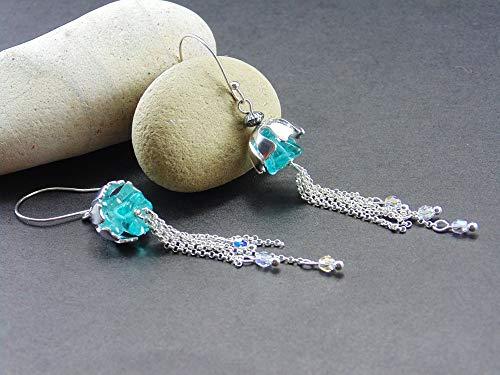 Sterling Silver Floral earrings Light blue Czech crystal Handmade Length of the earrings to the end of the chain 3 Inches Sterling silver flower chain y hooks. Swarovski Austrian Cristal ()