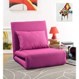 Loungie Relaxie Pink Linen Flip Chair | 5-Position Adjustable Back | Convertible | Sleeper Dorm Bed Couch Lounger Seat Sofa By Inspired Home