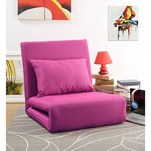 Loungie Relaxie Pink Linen Flip Chair   5-Position Adjustable Back   Convertible   Sleeper Dorm Bed Couch Lounger Seat Sofa By Inspired (Trucks Floor Pillow)