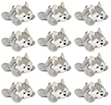 Wildlife Tree 3.5 Inch Wolf Husky Mini Small Stuffed Animals Bulk Bundle of Zoo Animal Toys or Forest Animal Party Favors for Kids Pack of 12