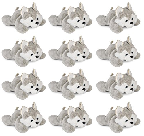 Wildlife Tree 3.5 Inch Wolf Husky Mini Small Stuffed Animals Bulk Bundle of Zoo Animal Toys or Forest Animal Party Favors for Kids Pack of 12 by Wildlife Tree