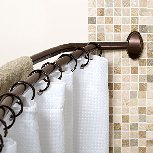 Zenna Home E35604HB NeverRust Aluminum Double Curved Shower Curtain Rod 45 To 72