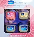 Vaseline Lip Therapy Jelly Pots, Pack of 4, Rosy Lips, Creme Brulee & Original