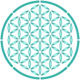 Flower of Life Stencil - 14 x 14 inch (L) - Reusable Sacred Geometry Mandala Wall Stencil Template - Use on Paper Projects Scrapbook Bullet Journal Walls Floors Fabric Furniture Glass Wood etc.