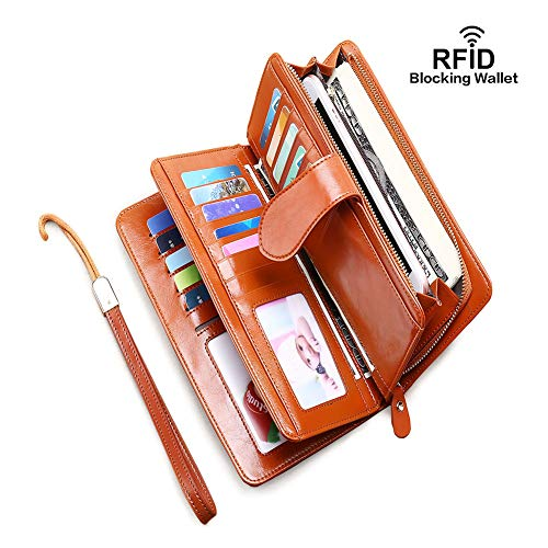 RFID Blocking Women Genuine Leather Wallets with Zipper Pocket, Multi Card Case Wallet with Removable Wristlet Strap, Zipper Clutch Wallets(RFID-Brown)