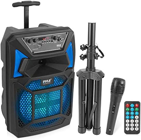 Bluetooth PA Speaker & Microphone System - Portable Karaoke Speaker with Wired Mic, Built-in LED Party Lights, FM Radio, MP3/USB/Micro SD Readers, Speaker Stand (8'' Subwoofer, 400 Watt MAX)