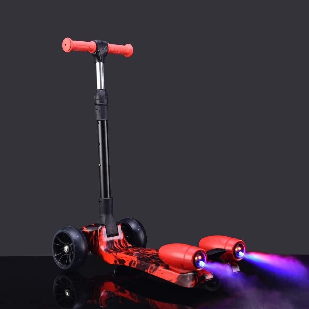 Deluxe Design 3 Wheel Nano Spray-Fire - Fog Kids Kick Scooter Folding and Adjustable, Led Wheels, Rocket Sprayer - Red Star
