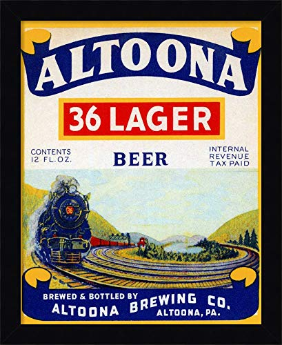 Framed Canvas Wall Art Print | Home Wall Decor Canvas Art | Altoona 36 Lager Beer by Vintage Booze Labels | Modern Decor | Stretched Canvas - Lager Altoona Beer 36