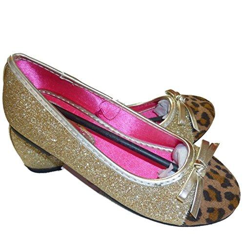 Angels Mädchen Ballerinas Gold glitzernde Schuhe mit Tiger Spitze EU 28