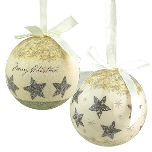 Northlight 6-Piece Cream White Merry Christmas and Stars Decoupage Shatterproof Ball Ornament Set 2.75