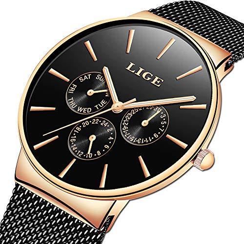 Black Belt Watch - LIGE Mens Watches Fashion Casual Minimalist Analog Quartz Watch for Men Waterproof Stainless Steel Mesh Belt Date Black Gold Gents Dress Wristwatch