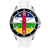 Central Afrika Country Flag White Jelly Silicone Band Unisex Sports Wrist Watch
