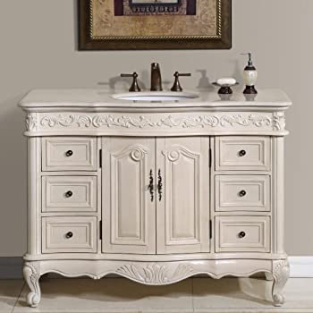 Silkroad Exclusive Countertop Marble Single Sink Bathroom Vanity With White  Oak Finish Cabinet, 48 Inch