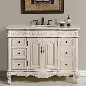 Silkroad Exclusive Countertop Marble Single Sink Bathroom Vanity with with White Oak Finish Cabinet, 48″,