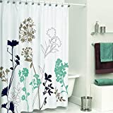 DS BATH Silhouette Flower Shower Curtain,Mildew Resistant Fabric Shower Curtain,Plants Shower Curtains for Bathroom,Floral Bathroom Curtains,Print Waterproof Shower Curtain,72'W x 78'H-Blue/White