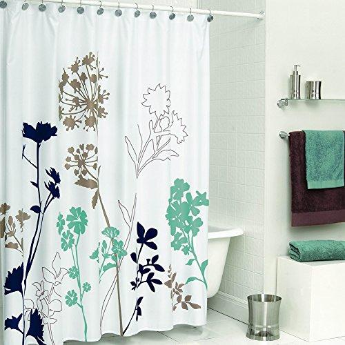 DS BATH Silhouette Flower Shower Curtain,Mildew Resistant Fabric Shower Curtain,Plants Shower Curtains for Bathroom,Floral Bathroom Curtains,Print Waterproof Shower Curtain,78