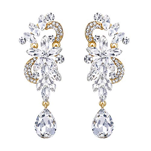 - BriLove Wedding Bridal Dangle Earrings for Women Bohemian Boho Crystal Flower Chandelier Teardrop Bling Earrings Clear Gold-Toned