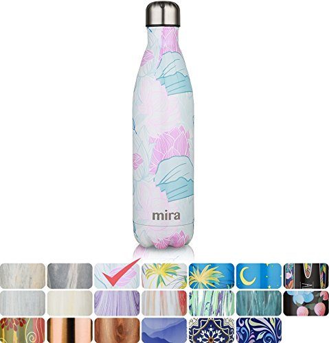 MIRA Vacuum Insulated Travel Water Bottle | Leak-proof Double Walled Stainless Steel Cola Shape Sports Water Bottle | No Sweating, Keeps Your Drink Hot & Cold | 25 Oz (750 ml) (Lotus)
