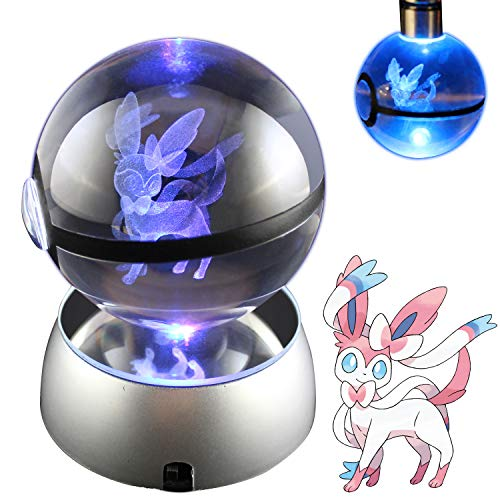 Price comparison product image Baken 3D Crystal Ball LED Night Light with LED Keychain Laser Engraving (Sylveon)