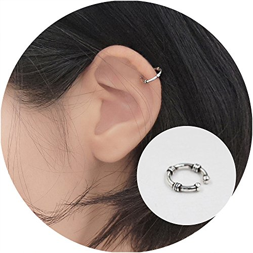Aifeer s925 Sterling Silver Round Retro Carved Ear Cuff Wrap Earring No Piercing For Men & Women (Single)