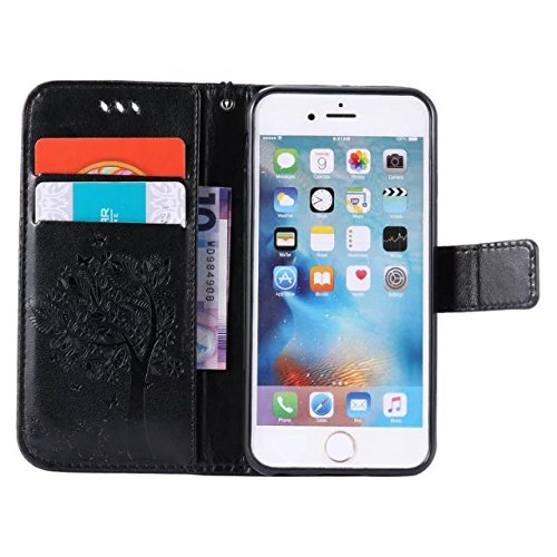 EKINHUI Case Cover Solid Color Premium PU-Leder-Etui Prägung Muster Flip-Standplatz Fall Deckung mit Karte und Bargeld Schlitze für iPhone 6 6s 4,7 Zoll ( Color : Black )