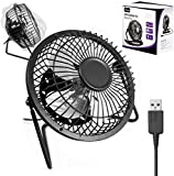"Usb Fan Retro Mini Aluminium By G-Hub - 360 Rotation Desk Fan Powered by USB Socket of a Laptop or PC or any USB Mains Adapter - Compact Usb Fan Mini 4"" (4inch) – BLACK"