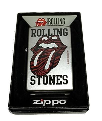 Zippo Custom Lighter - Rolling Stones Red Tiger Printed Lips and Tongue Logo - Regular Satin Chrome - Mick Jagger Band