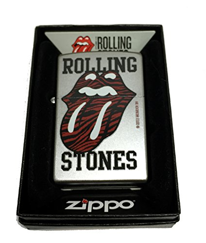 Zippo Custom Lighter - Rolling Stones Red Tiger Printed Lips and Tongue Logo - Regular Satin Chrome