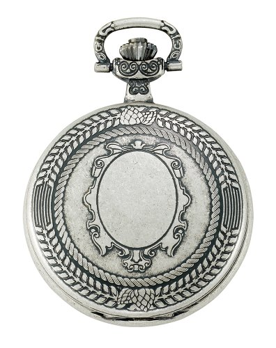Gotham Men's Antiqued Silver-Tone Swiss Quartz Date Covered Pocket Watch # GWC14079S