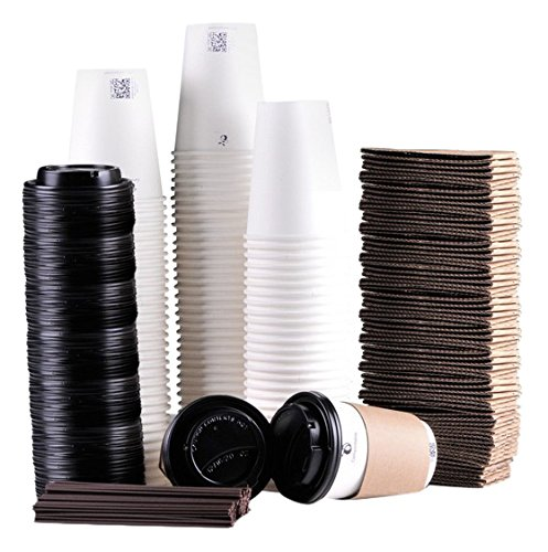 Luckypack Disposable Coffee Cups To Go with Travel Lids Sleeves and Straws 100% Biodegradable & Compostable Pla Eco Friendly Paper Coffee Cups 100 Sets of 12 oz ()