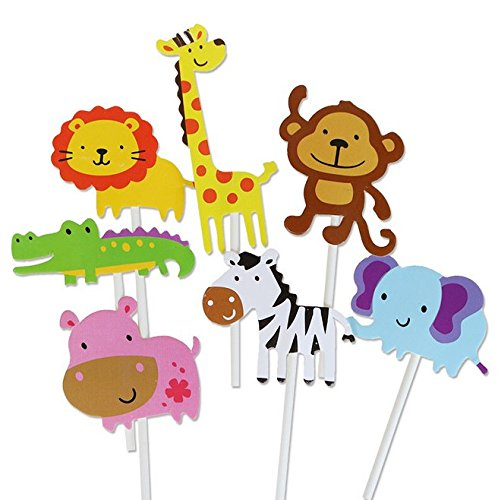 Joinor 35pcs Cute Jungle Animal Cupcake Toppers Picks For Kids Cake Decoration Shower Birthday Party Favors, Including Monkey, Elephant, Crocodile, Giraffe, Hippo, Lion, Zebra