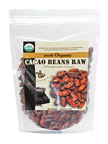Roasting Cocoa Beans - Indus Organics Raw Cacao Beans, 1 Lb Bag, Sulfite Free, No Added Sugar, Premium Grade, High Purity, Freshly Packed