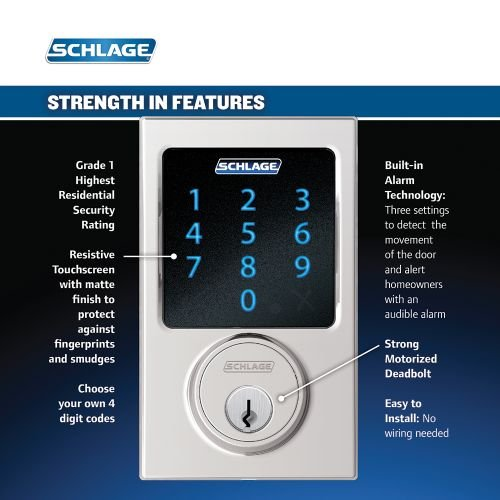 Schlage Residential Century Electronic Touchscreen Deadbolt C Keyway with 12344 Latch 10116 Strike BE469NXCEN626 by Schlage Lock Company