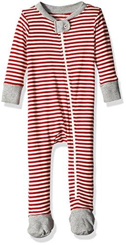 Burt's Bees Baby Baby Organic Chevron Bee Sleeper, Cranberry Candy Cane Stripe, 6-9 (Candy Cane Pajamas)