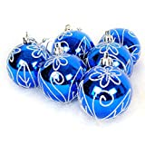Christmas Balls Tree Ornaments Shatterproof for Holiday Wedding Party Decoration 6 PCS 2.36 In Blue