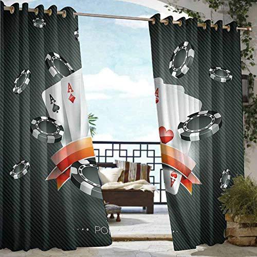 (VIVIDX Grommet Outdoor Curtains,Poker Tournament Decorations,Waterproof Patio Door Panel,W72x96L Black White Red)
