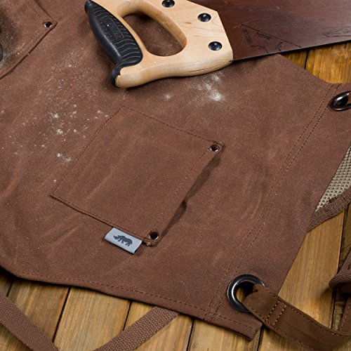 Heavy-Duty Waxed-Canvas Work Apron for Men and Women withPockets for ToolsCross-Back Straps – Adjustable from M to XXL (Brown) by Premium Rhino (Image #2)