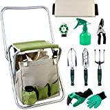 INNO STAGE 10 Piece Garden Tools Set-Gardening Hand Tools Kit,Detachable Storage Tote Bag and Collapsible Stool Seat with Backrest for Father Mother as Gift