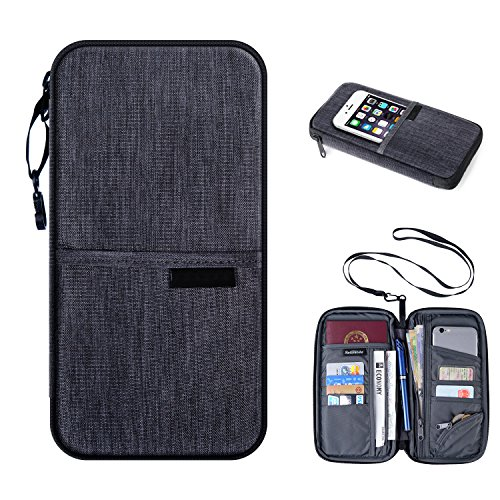 Waterproof Passport Holder Travel Wallet – Luxsure Multifunctional Neck Wallet Bag Money Ticket Card Document Organizer Zipper Bag with Neck Strap Coin Purse for Security (Grey) (Case Multi Passport Currency)